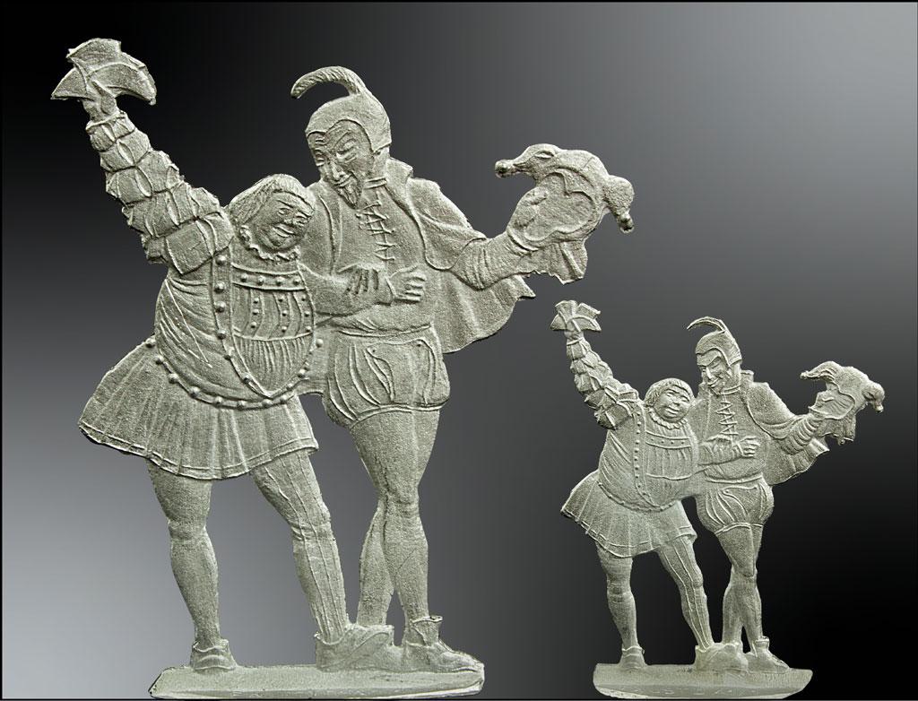 Alle Besteller der Vitrinenfigur in 54 mm Größe erhalten die 30 mm Figur gratis dazu. Die kleine Figur kann später in die Faust Papiergeldszene mit 21 weiteren Figuren integriert werden.
