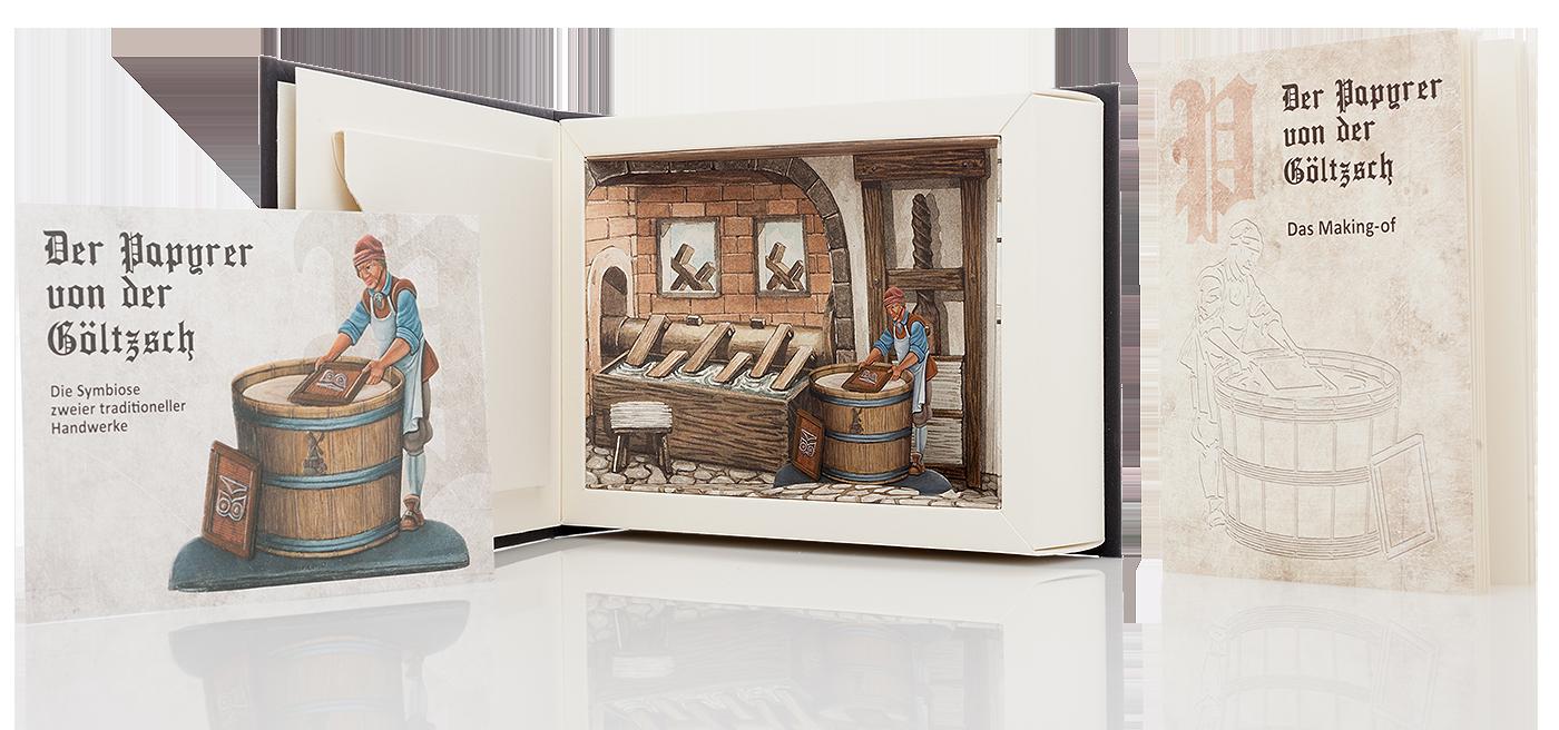 Papyrer Box, Booklet und Karte